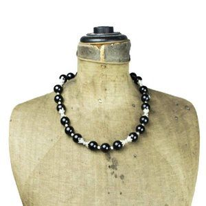 Black Glass Bead and Silver Bead Necklace